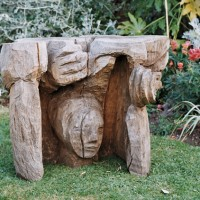 16. Tree stump table sculpture in oak