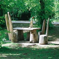 5. Chairs in mixed woods and table in oak. Trent Park