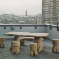 8. Table and stools in cedar